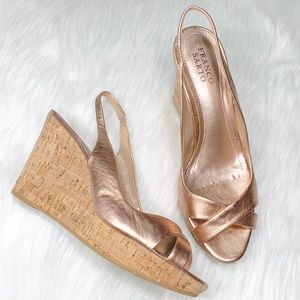 Franco Sarto Rose Gold Leather Wedges